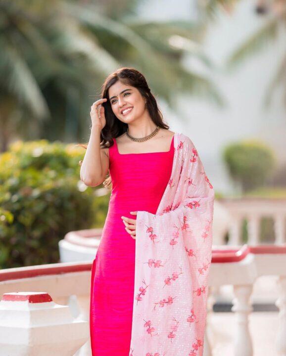 Amritha Aiyer in Pink Dress stills