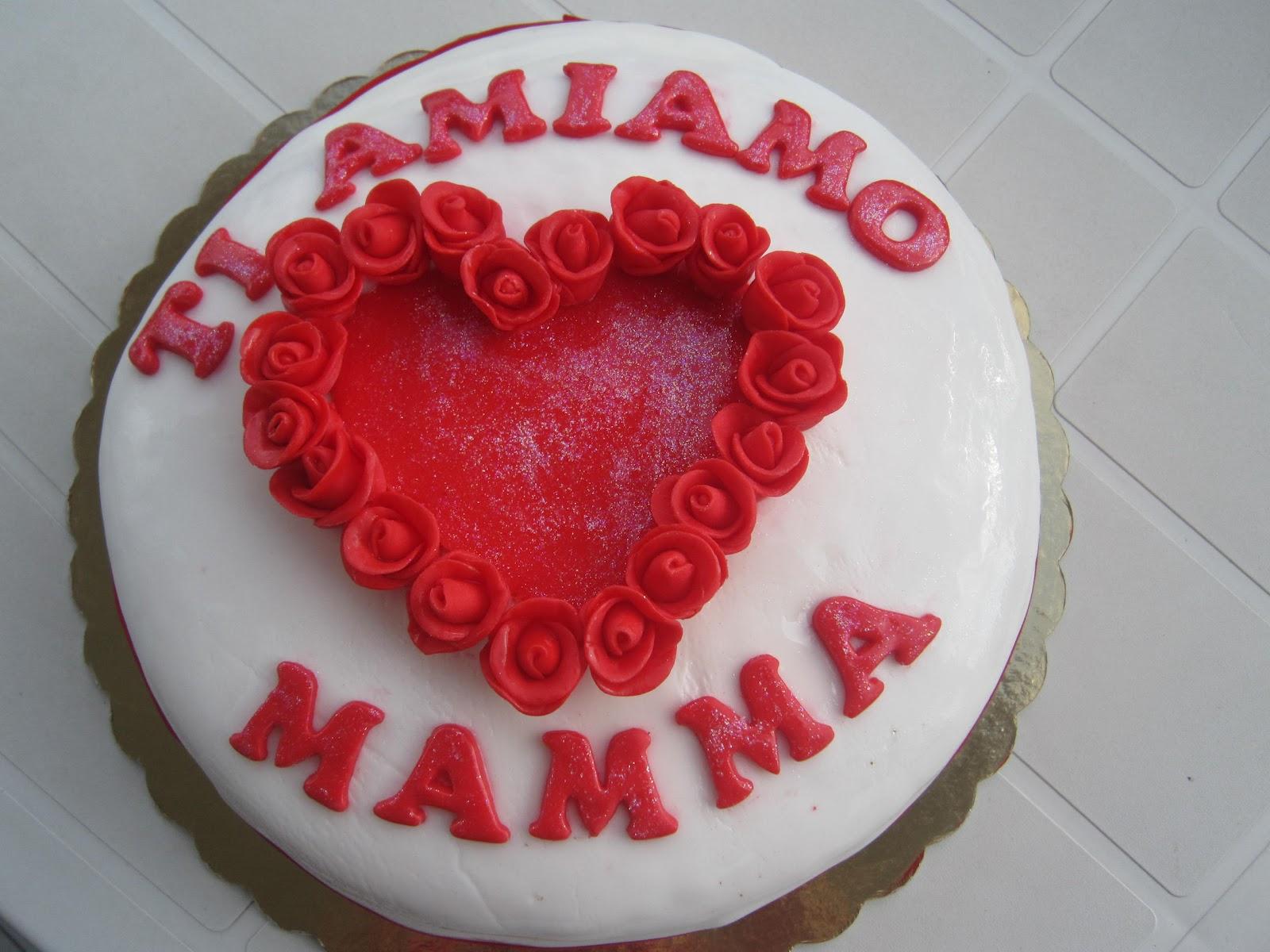 Favoloso Torta Ti amo amiamo mamma Pasta di zucchero Le Torte di Gessica PW18