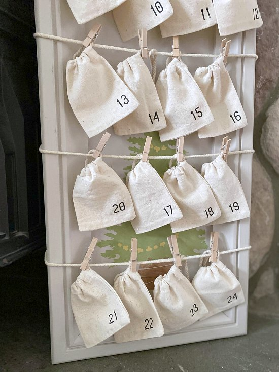 DIY Stenciled Advent Calendar with Small Numbered Muslin Bags