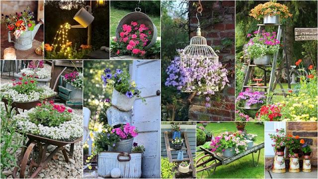 Διακοσμήσεις Κήπου με vintage και κάθε τύπου παλιά μεταλλικά αντικείμενα