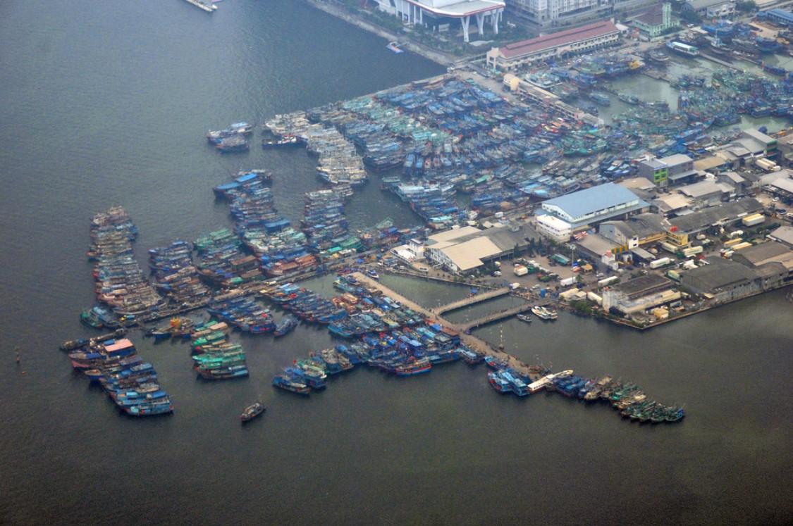 foto udara pelabuhan sunda kelapa jakarta