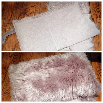 homemade handmade DIY faux fur fabric pillow