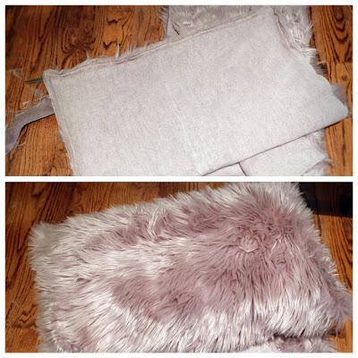 homemade handmade DIY faux fur fabric pillow
