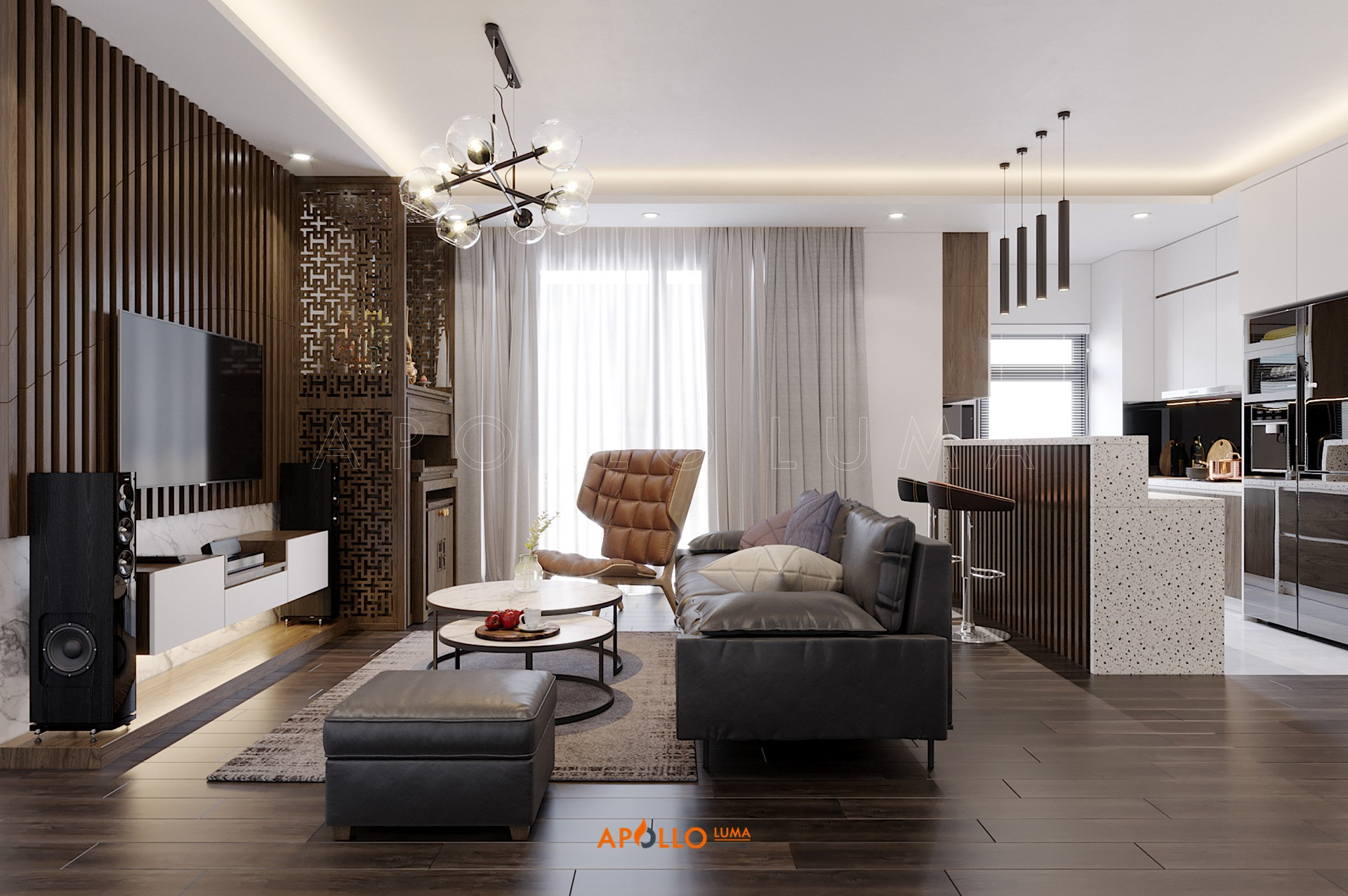Thiết kế nội thất căn 3PN (103.48m2) Imperia Sky Garden 423 Minh Khai