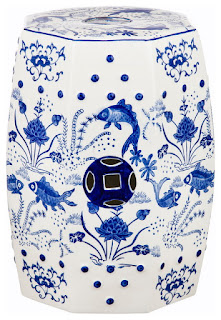 Gorgeous blue and white Chinoiserie garden stool from Decor Market - found on Hello Lovely Studio
