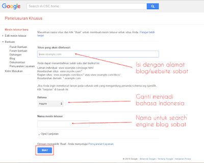 Memasang Google Custom Search Engine (CSE) di Blogger