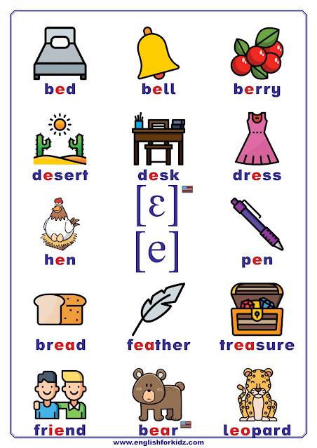 Short E sound words - printable phonics charts