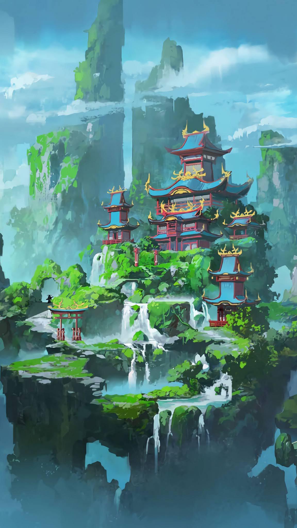 pagoda castle art mobile wallpaper