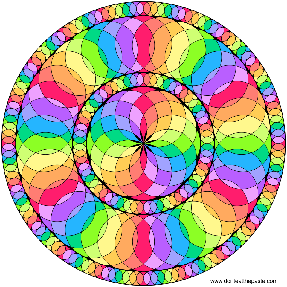 Circles color spectrum mandala- blank version available to color