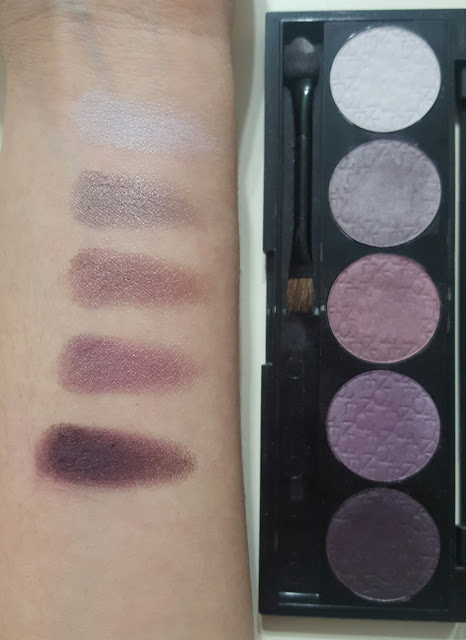 Note Professional Eyeshadow 5 Colors Swatch