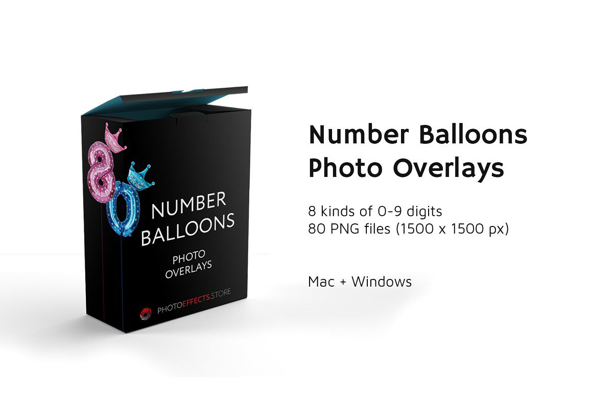 80 Number Balloons Photo Overlays 5224487