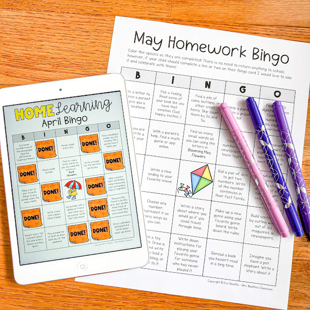 Photo of printable and digital homework bingo choice boards.