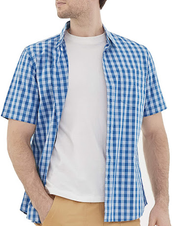 Short Sleeve Plaid Flannel Shirts For Men