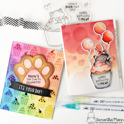 Cupcake Birthday Cards by Samantha Mann for Newton's Nook Designs 8 year Celebration, Distress Inks, Ink Blending, Deco Foil, Decofoil, Foil, stickles #newtonsnook #newtonsnookdesigns #distressinks #inkblending #birthday #cupcake #decofoil