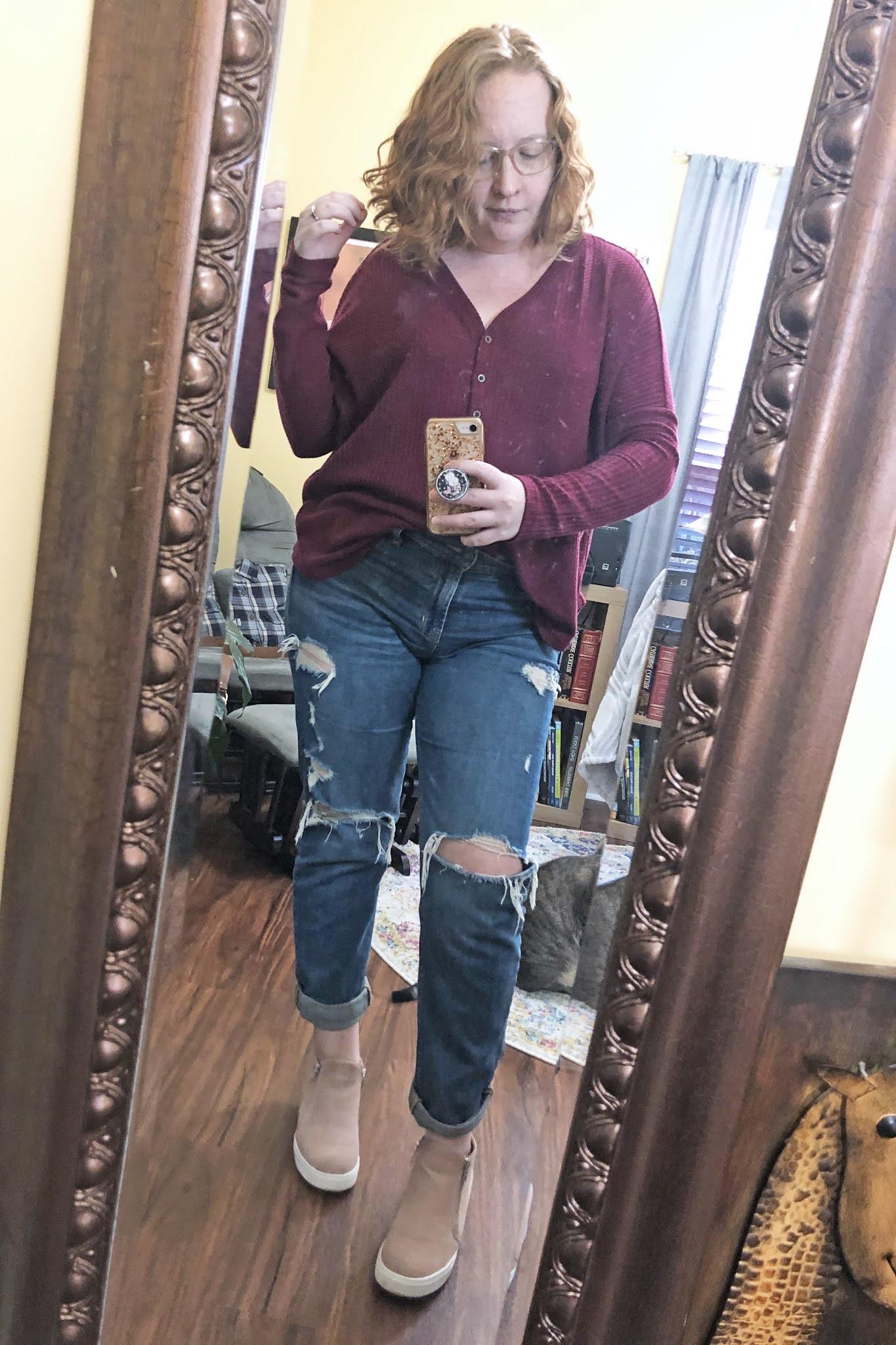 thermal shirt boyfriend jeans wedge sneakers