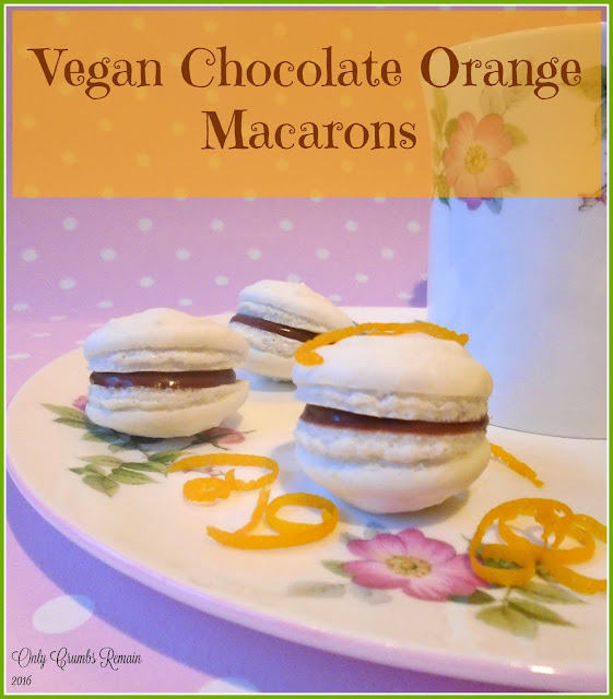 Vegan Chocolate Orange Macarons, made with aquafaba