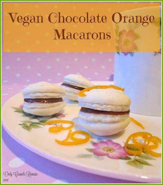 Vegan Chocolate Orange Macarons, made with aquafaba