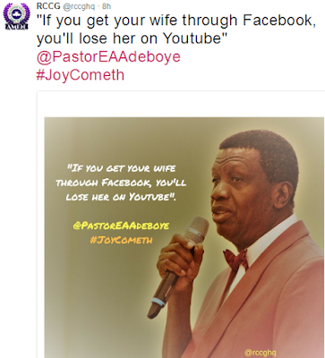 """""""If you get a wife through Facebook, you will lose her through YouTube"""" -  Pastor Adeboye says, Nigerians react"""