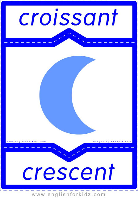 crescent in French, croissant en anglais, English-French shapes flashcards