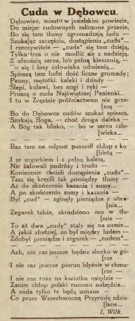Dębowiec 1932 wiersz