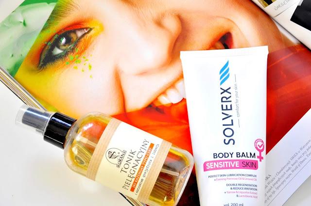 pielęgnacyjny tonik do twarzy korana, balsam solverx body balm senstitive skin