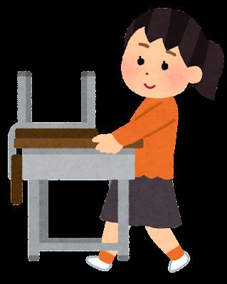 机を運ぶ学生のイラスト(女子)