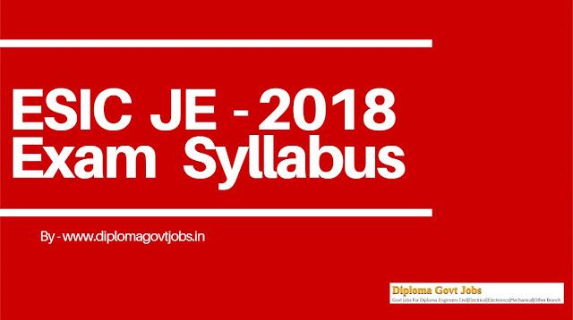 ESIC JE 2018 Exam Syllabus