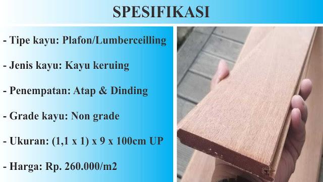 spesifikasi plafon kayu keruing