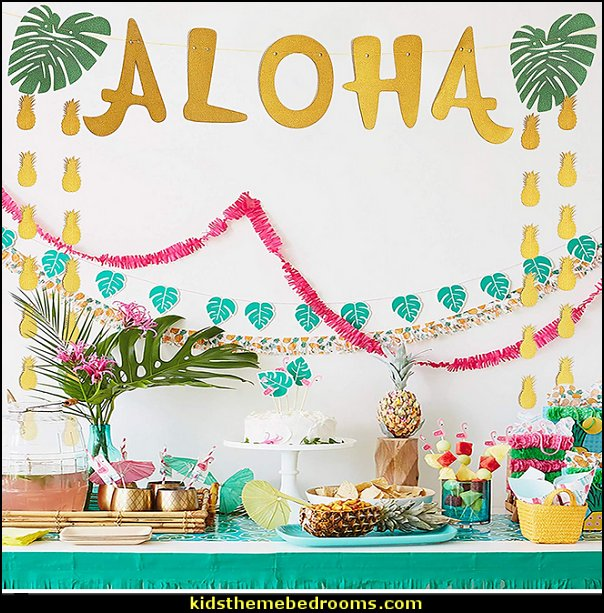 Aloha Banner For Luau Party    Tropical party decorations - tropical party ideas - ALOHA Hawaii Luau Party Decorations - Luau Hawaiian Grass Table Skirt raffia Decorations - Hula Hibiscus Tropical Birthday Summer Pool Party Supplies - tiki party pineapple party decorations - beach party - Birthday party  photo backdrop - tropical themed cake decorations - beach tiki themed table decorations -  party props - summer party
