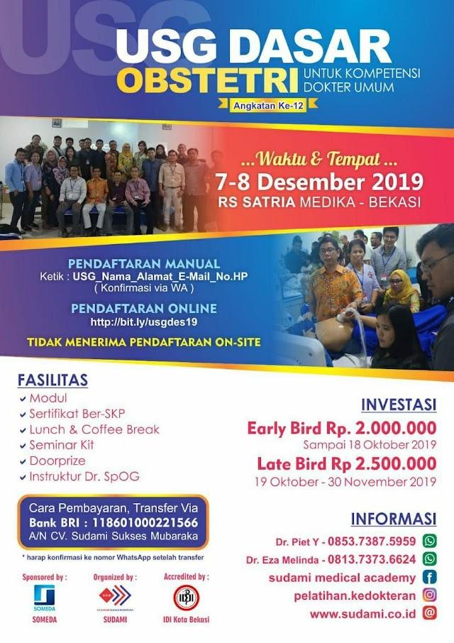 Dibuka Pendaftaran:  WORKSHOP USG DASAR OBSTETRI 7-8 Desember 2019