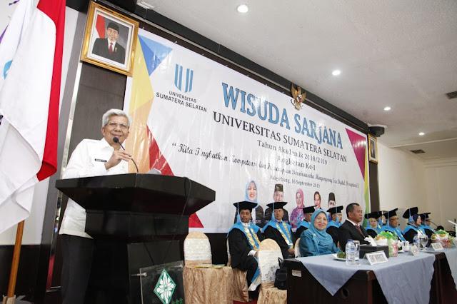 Hadiri Wisuda, Mawardi Yahya Apresiasi Universitas Sumatera Selatan