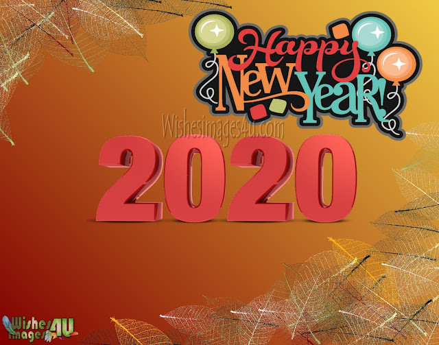 Happy New Year 2020 Red Golden Photo Greetings Download