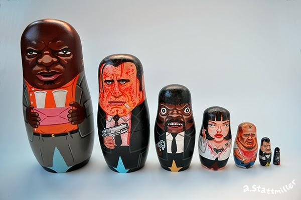 Green Pear Diaries, ilustraciones, matrioskas, Andy Stattmiller, Matryoshka Mania, Pulp Fiction