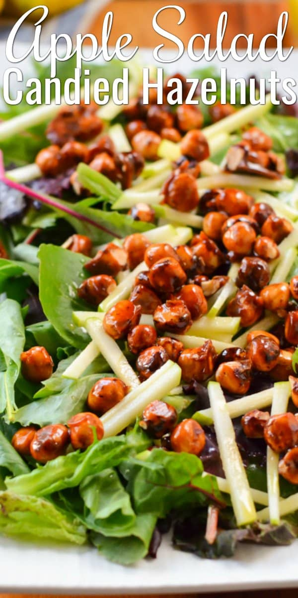 Apple Salad with Candied Hazelnuts with Lemon Vinaigrette is a fall favorite salad! It's a perfect Salad for Thanksgiving and Christmas from Serena Bakes Simply From Scratch.