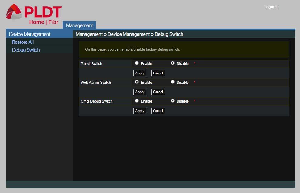 PLDT web admin switch