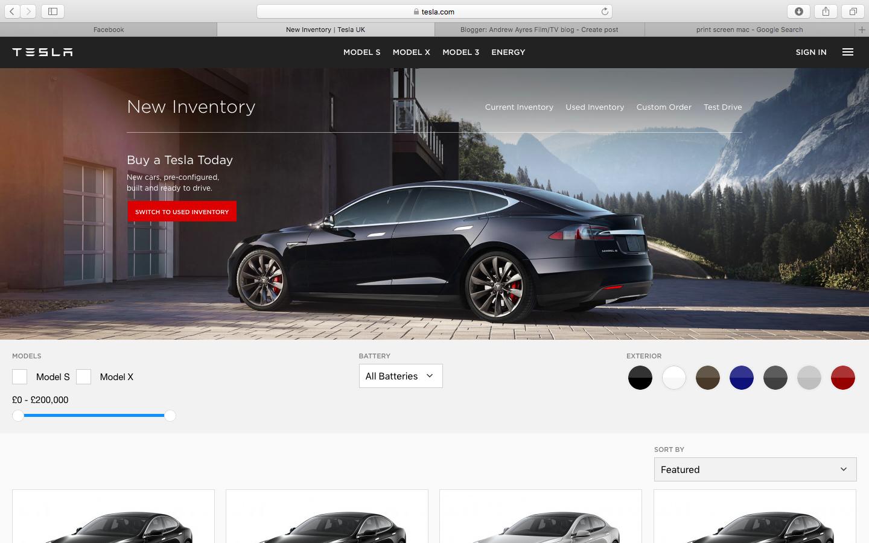 Andrew Ayres FilmTV Blog Research Electric Car Website Design - All tesla cars