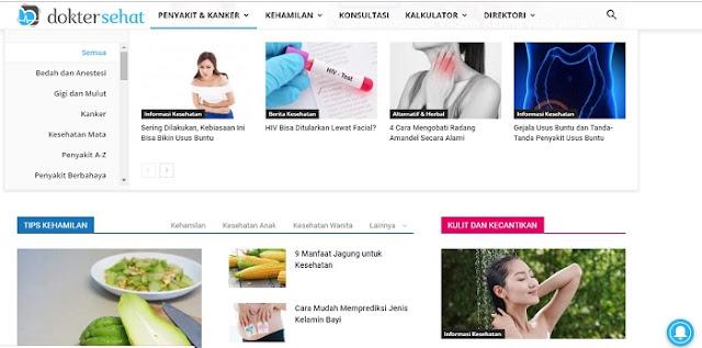 Tampilan Halaman Website DokterSehat - Blog Mas Hendra