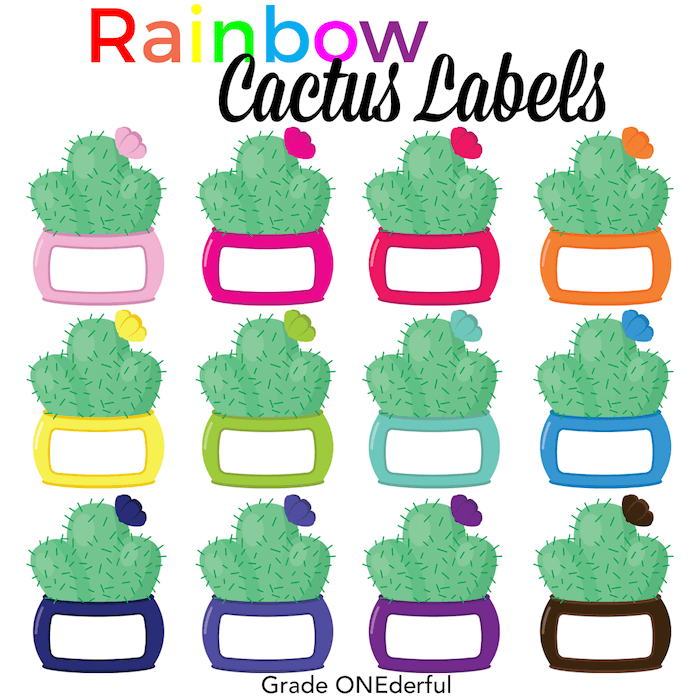 Rainbow Cactus Labels: Digital Clip Art