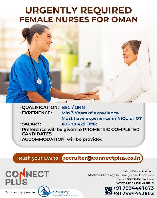 B.Sc, GNM Female Nurses for Oman Recruitment Malayali Nurses Vacancies Prometric