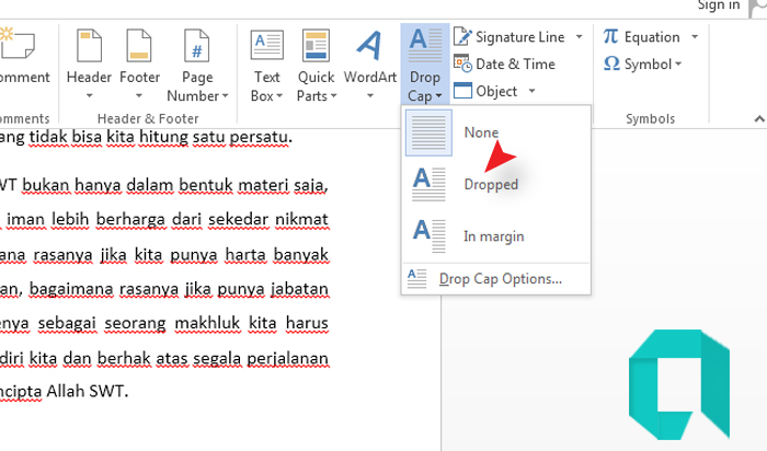 Cara Membuat Drop Cap Di MS Word Paling Mudah