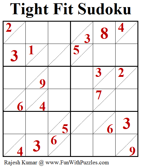 Tight Fit Sudoku (Puzzles for Adults #174)