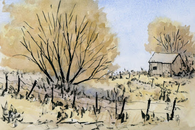 ink watercolor autumn rural landscape barn sketch