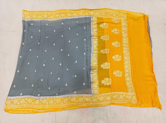 Pure Georgette Chiffon yellow gray colour saree