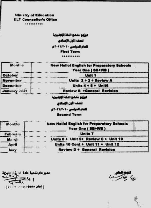 توزيع منهج اللغة الانجليزية للصف الأول الاعدادى 2021