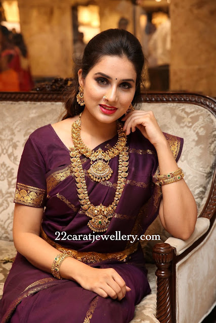 Model Nikitha Temple Jewellery