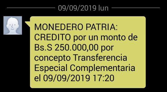 No se desanime! Continua llegando el Bono Especial Complementario por Bs. 250.000