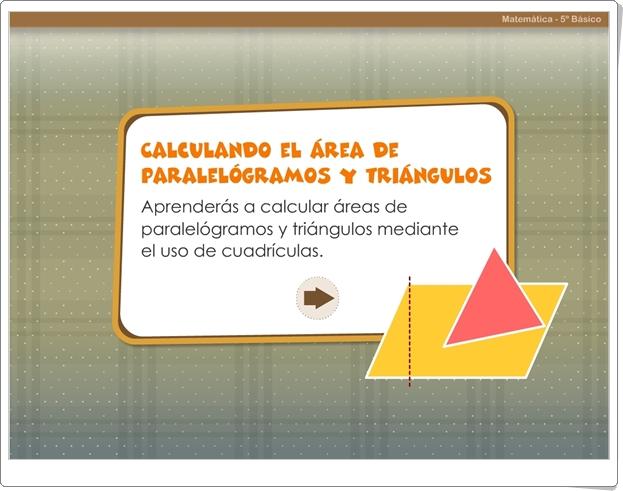 """""""Calculando el área de paralelogramos y triángulos"""" (Juego de Geometría de Primaria)"""