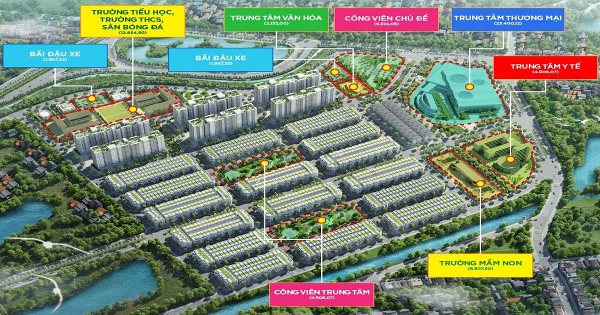 Vị trí bố trí các khu công viên trong khu đô thị Him Lam Green Park