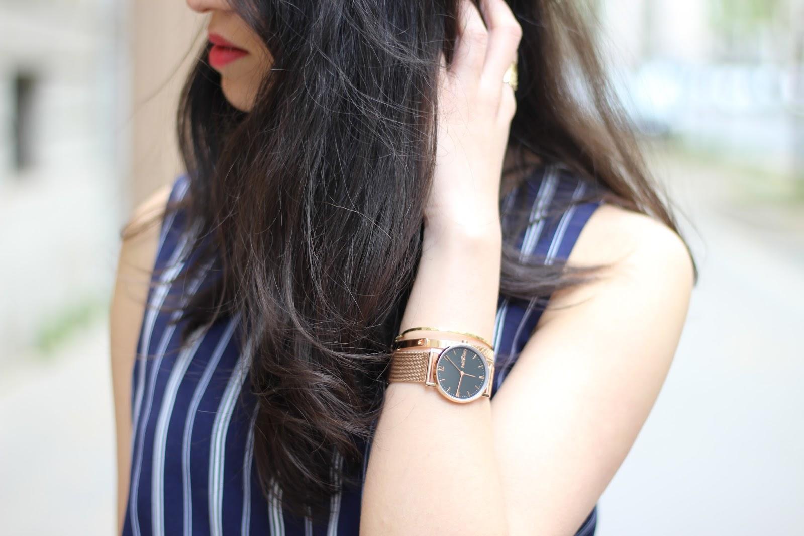 blog mode, blog mode lyon, blog mode lyon paris, blog mode paris, newlook, discoverss16, blogueuse mode, blogueuse lyonnaise, combinaison rayée, montre les partisannes