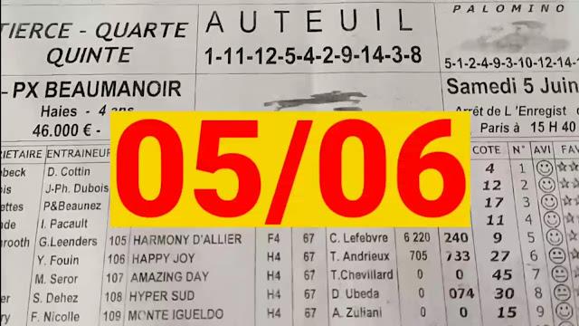 programme quinté+ Pronostic quinté samedi 05/06/2021